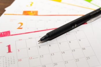 恋愛のことを考える曜日、好きな人が自分のことを考えてくれる時間をイメージしながら見る「カレンダー」の画像。