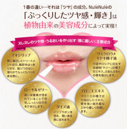 キス専用美容液の成分と、その効果をまとめた画像。