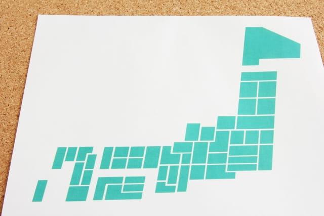 浮気する県ランキングをイメージした日本地図の画像。